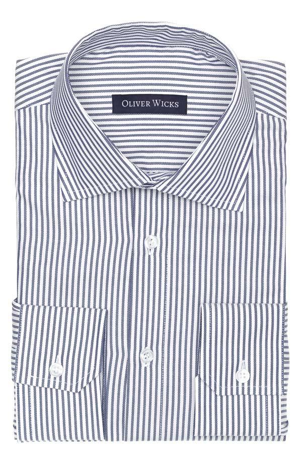 Blue Oxford Stripe Cotton Shirt