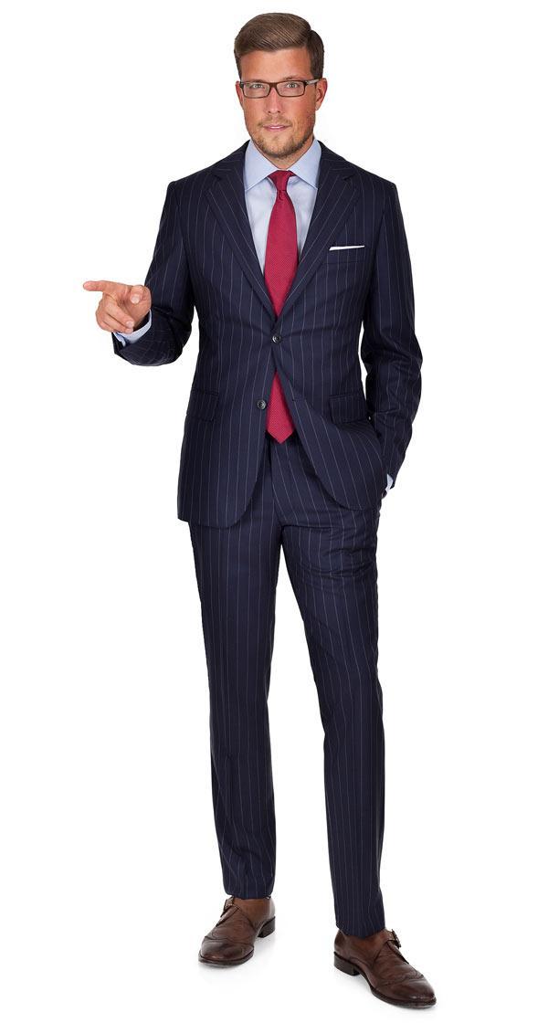 Vendetta Premium Navy Chalk Stripe Suit