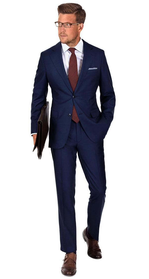 Vendetta Premium Navy Plaid Suit