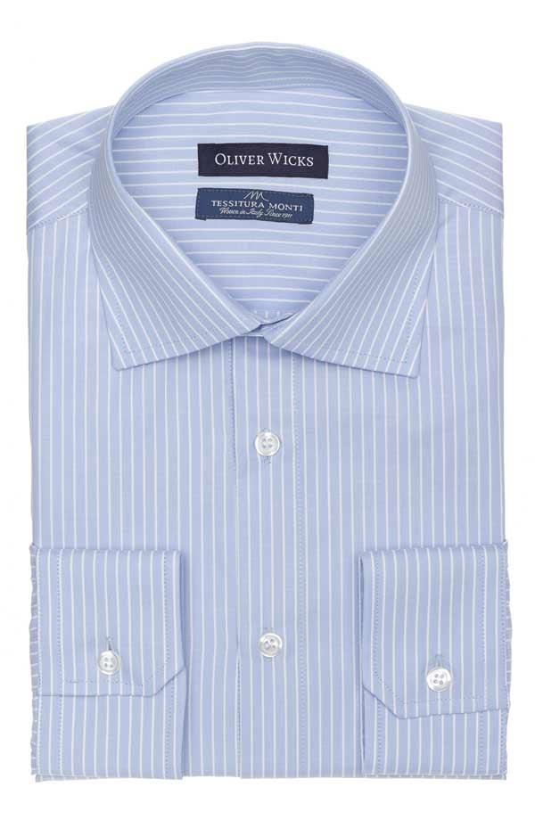 White Striped Blue Two-Fold Cotton Shirt