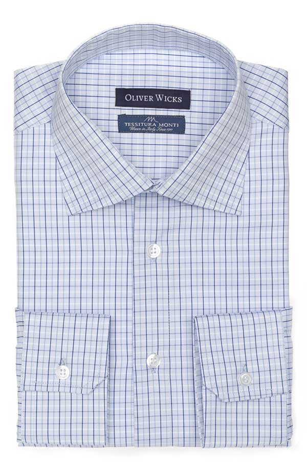 Blue Checked Blue Two-Ply Cotton Shirt