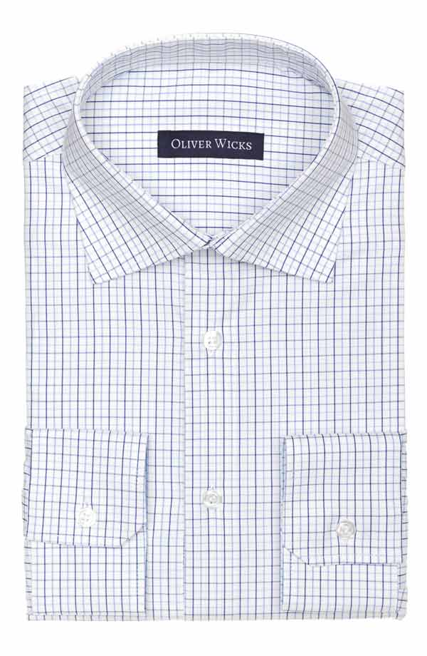 Blue Checked White Two-Ply Cotton Shirt
