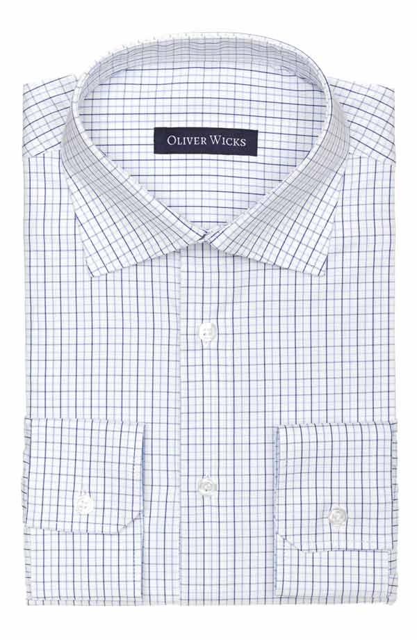 Blue Checked White Cotton Shirt