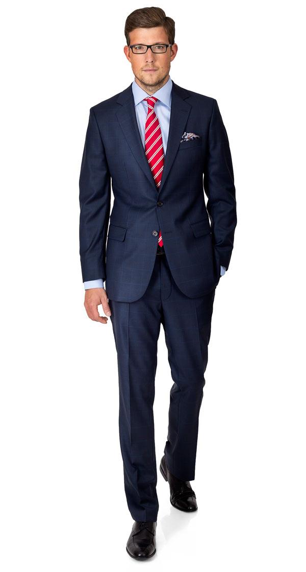 Premium Navy Plaid Suit
