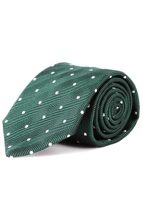 Olive Green Dotted Herringbone 100% Silk Tie