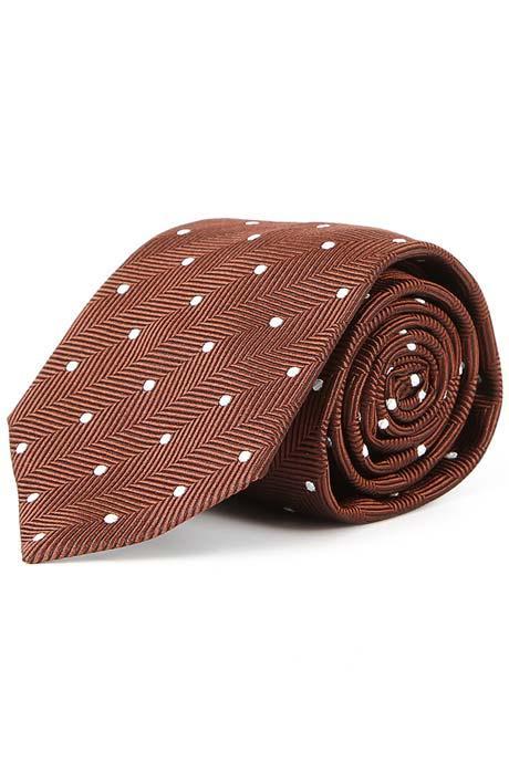 Brown Dotted Herringbone 100% Silk Tie