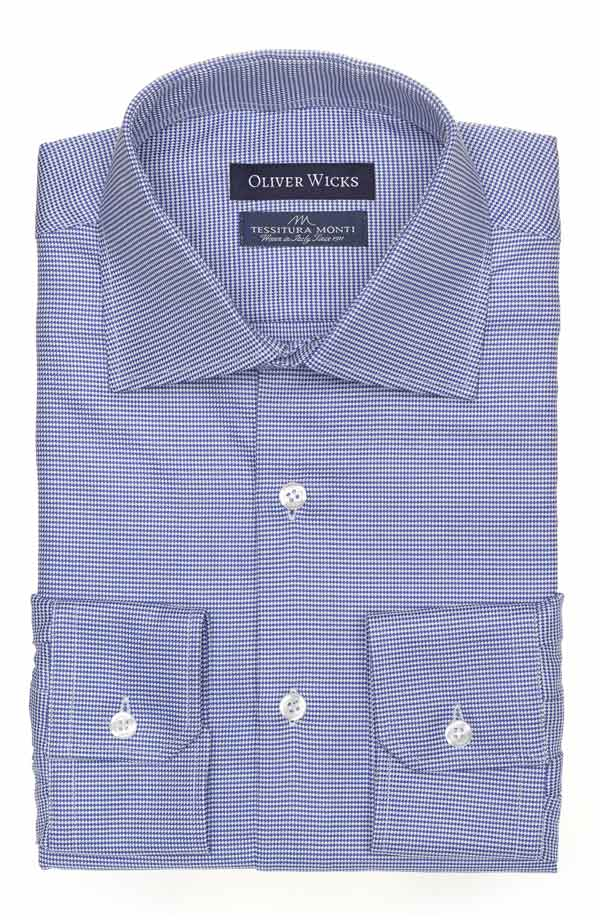 Micropatterned Blue Two-ply Cotton Shirt
