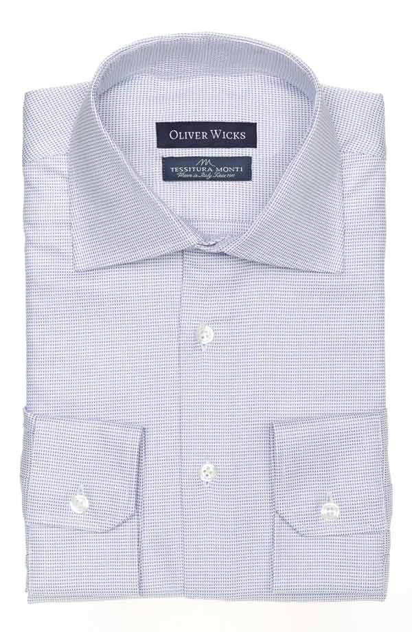 Micropatterned White & Blue Cotton Shirt