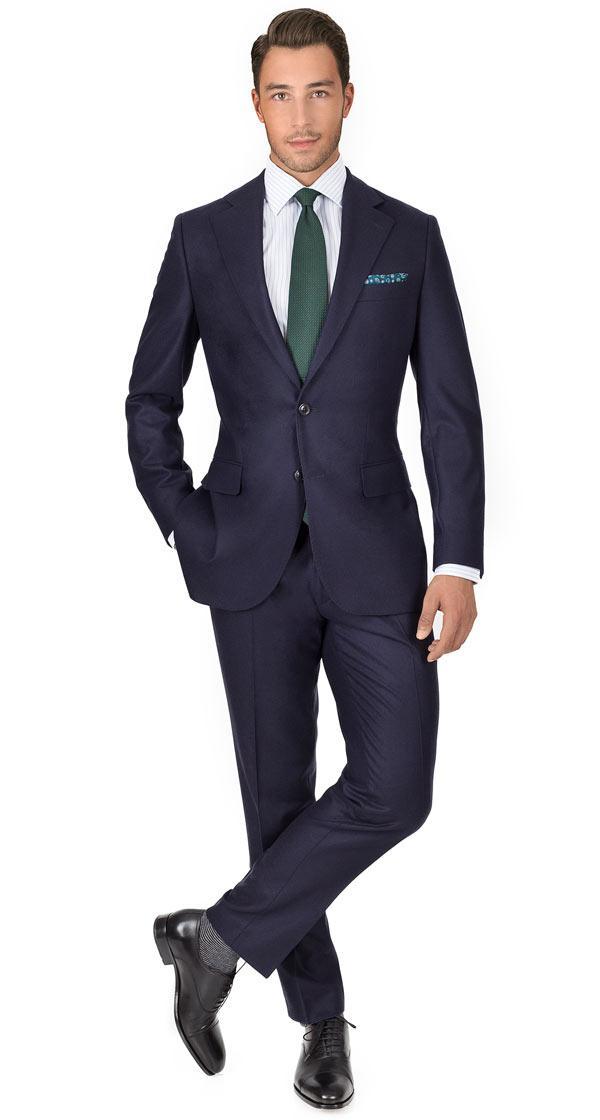 Navy Blue Wool Flannel Suit