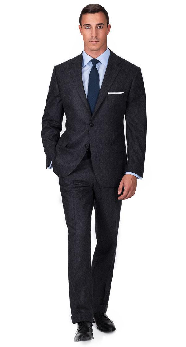 Charcoal Wool Flannel Suit