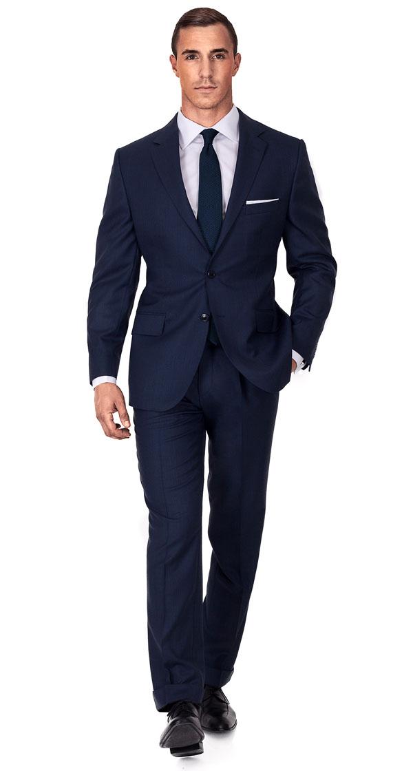 Navy Sharkskin Suit