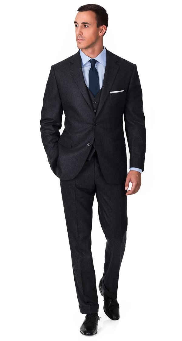 Charcoal Flannel 3 Piece Suit