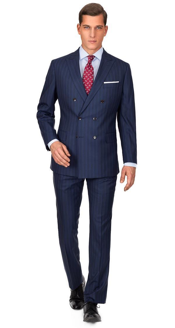 Premium Blue Stripe Blue Suit