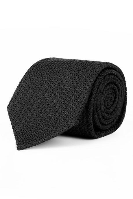 Black 100% Grenadine Silk Tie