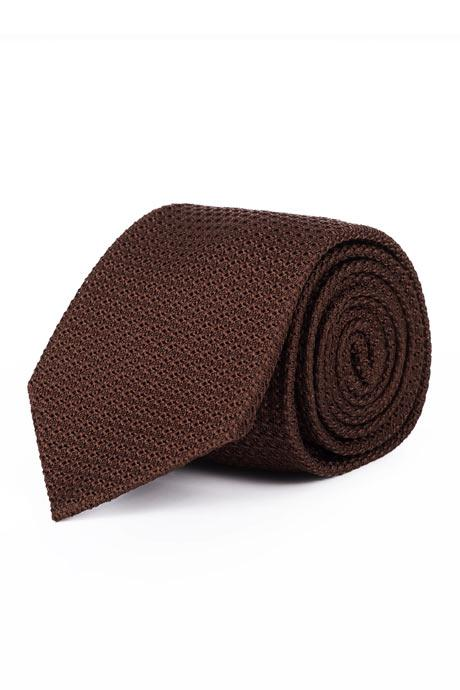 Brown 100% Grenadine Silk Tie
