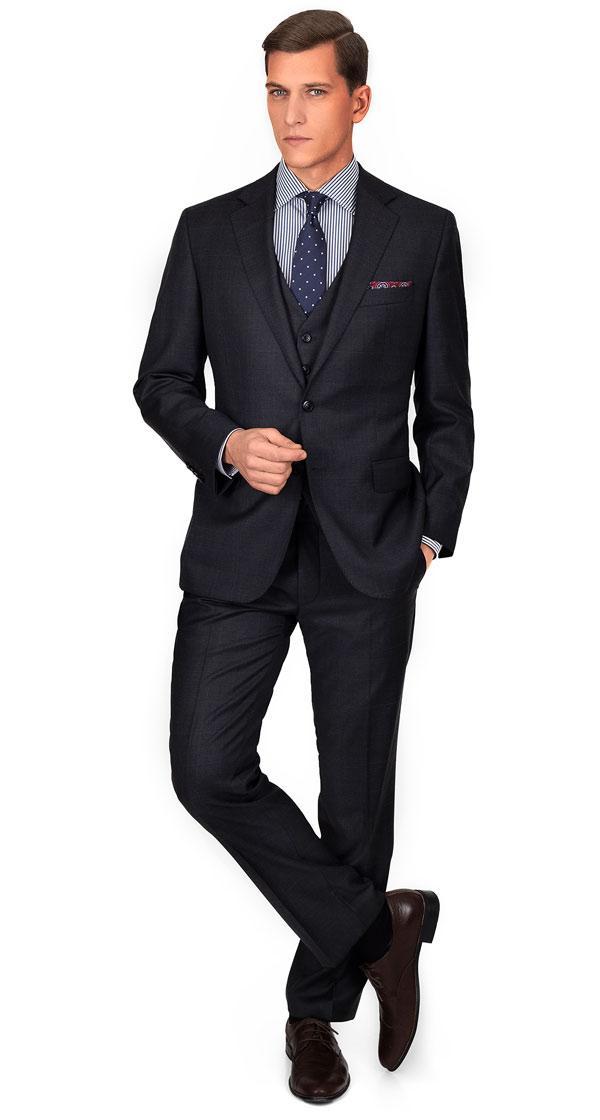Premium Charcoal Plaid 3 Piece Suit