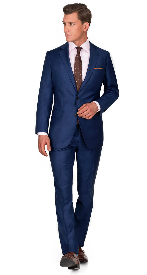 Custom Navy & Blue Suits, Tailored in Europe from Fine Wool