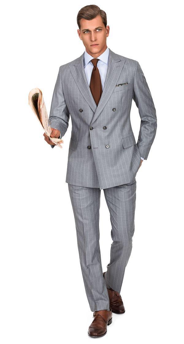 Premium Light Grey Chalkstripe 150s Suit