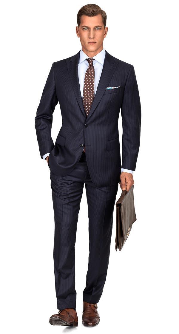 Premium Navy Pinstripe Suit