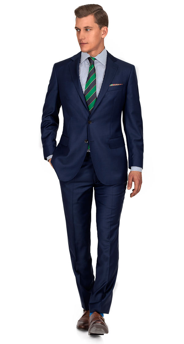 THE W. Suit in Navy Pick & Pick Wool