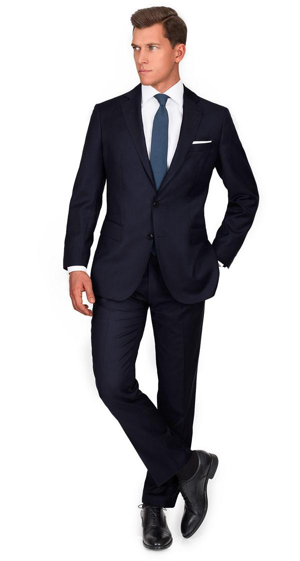 THE Q. Suit in Solid Dark Navy Blue Wool