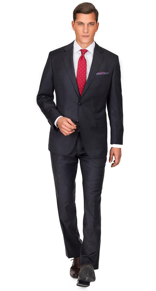 THE Q. Suit in Solid Charcoal Wool