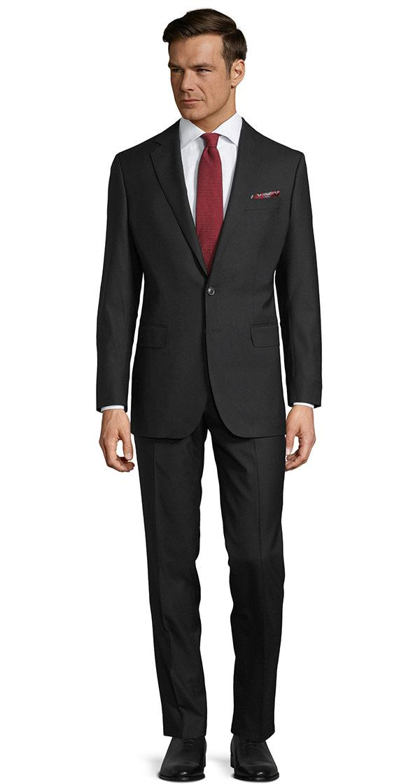 THE Q. Suit in Solid Black Wool