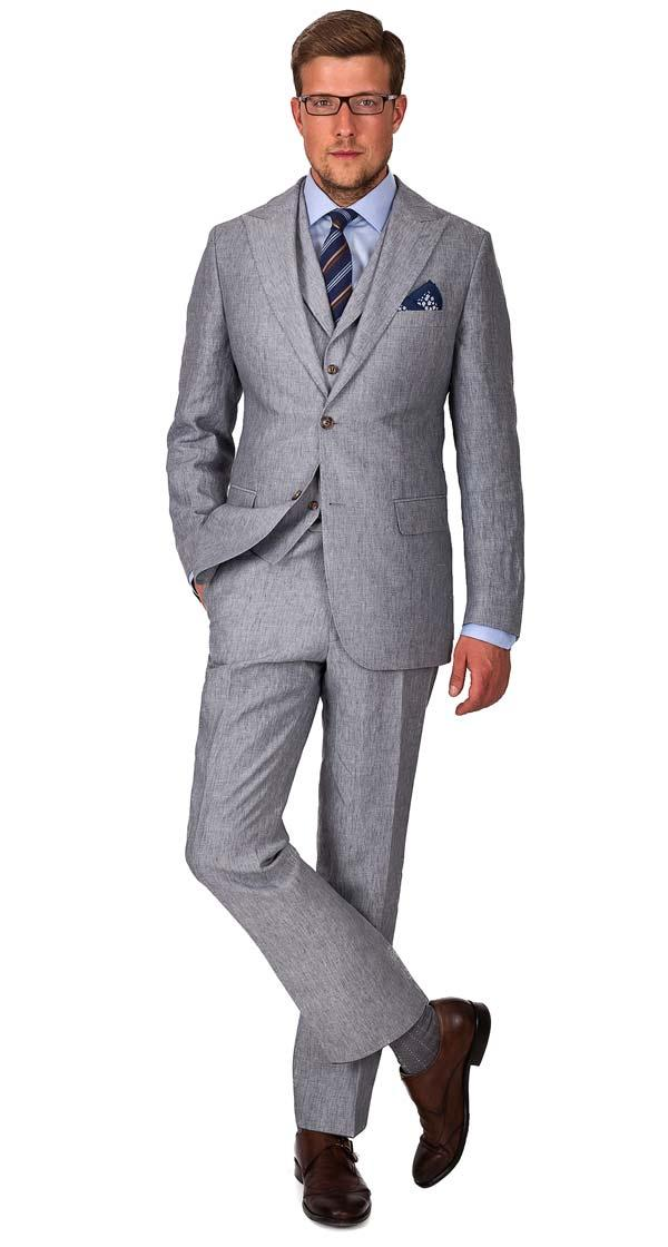 Grey Linen 3 Piece Suit