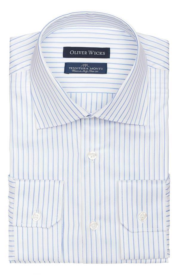 Blue Stripe White Cotton Royal Oxford Shirt