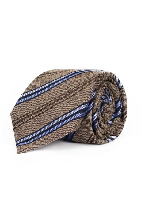 Khaki with Navy & Blue Stripes 100% Bourette Silk Tie
