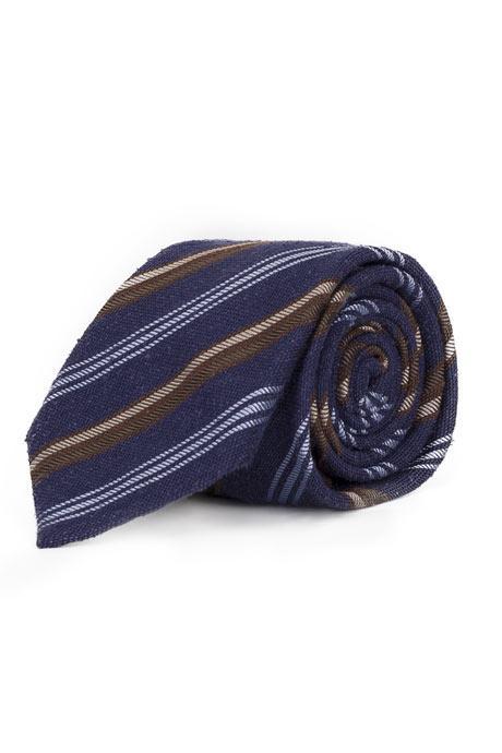 Navy with Cream & Blue Stripes 100% Bourette Silk Tie