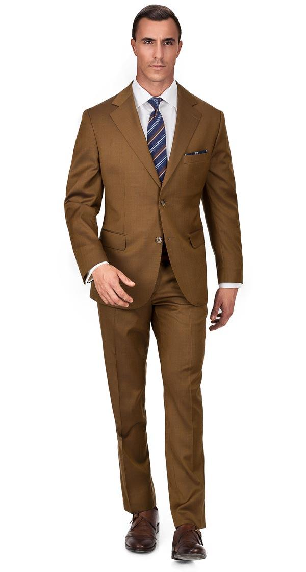 Premium Bronze Brown Wool & Silk Suit
