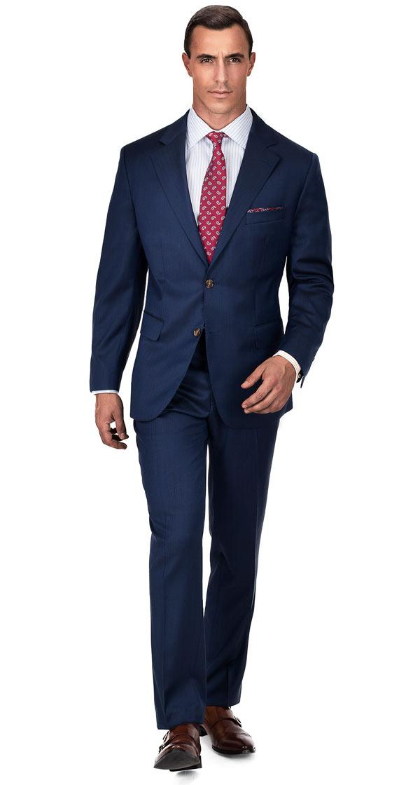 Premium Deep Blue Wool & Silk Suit