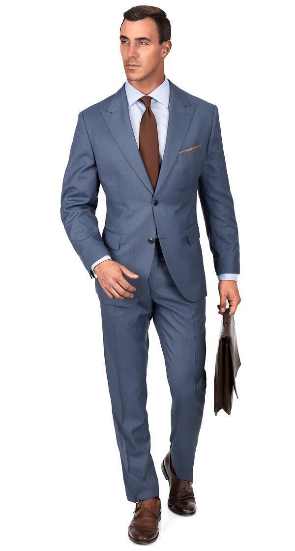 Premium Steel Blue Birdseye Suit