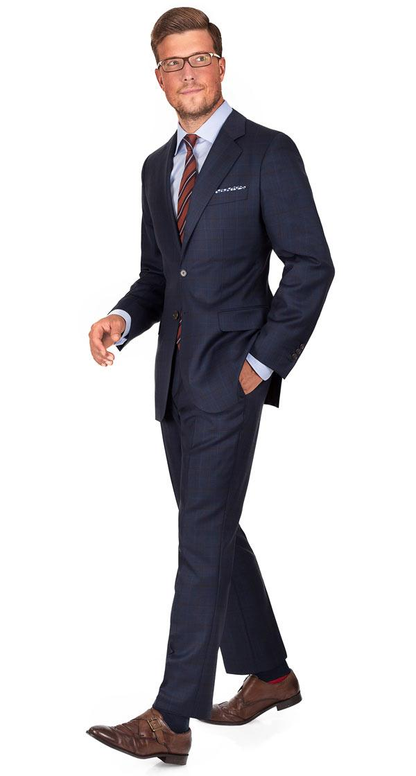 Brown Check Navy Suit