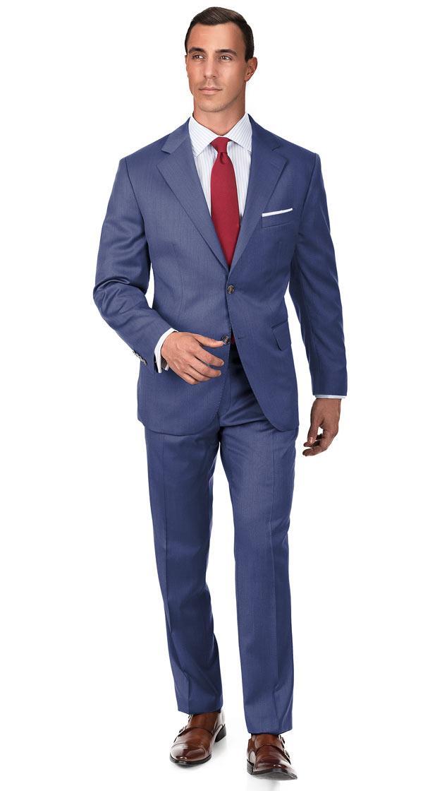Premium Light Blue Wool & Silk Suit