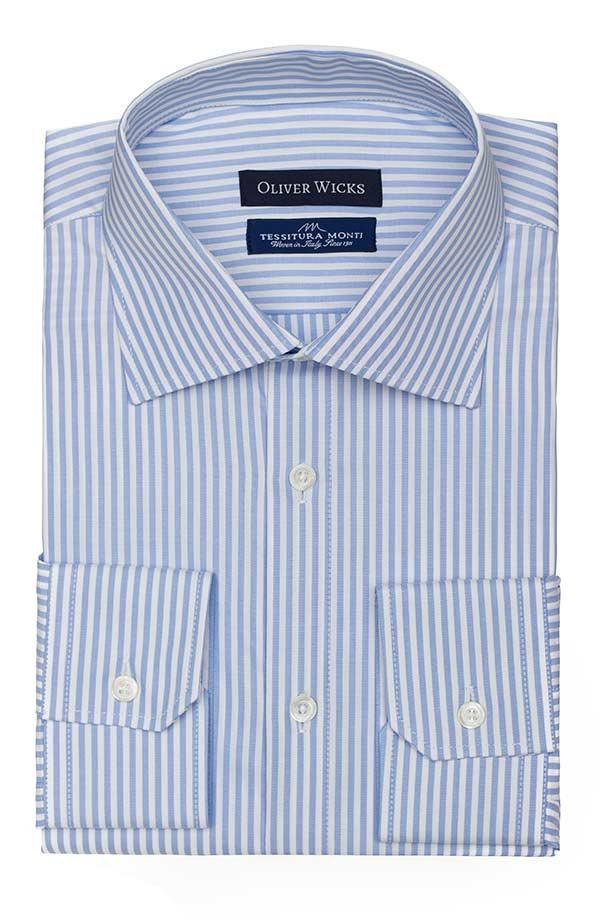 Light Blue Striped Two-Ply Pinpoint Oxford Shirt