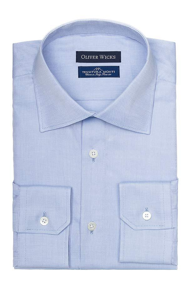 Blue Two-Ply Pinpoint Oxford Shirt