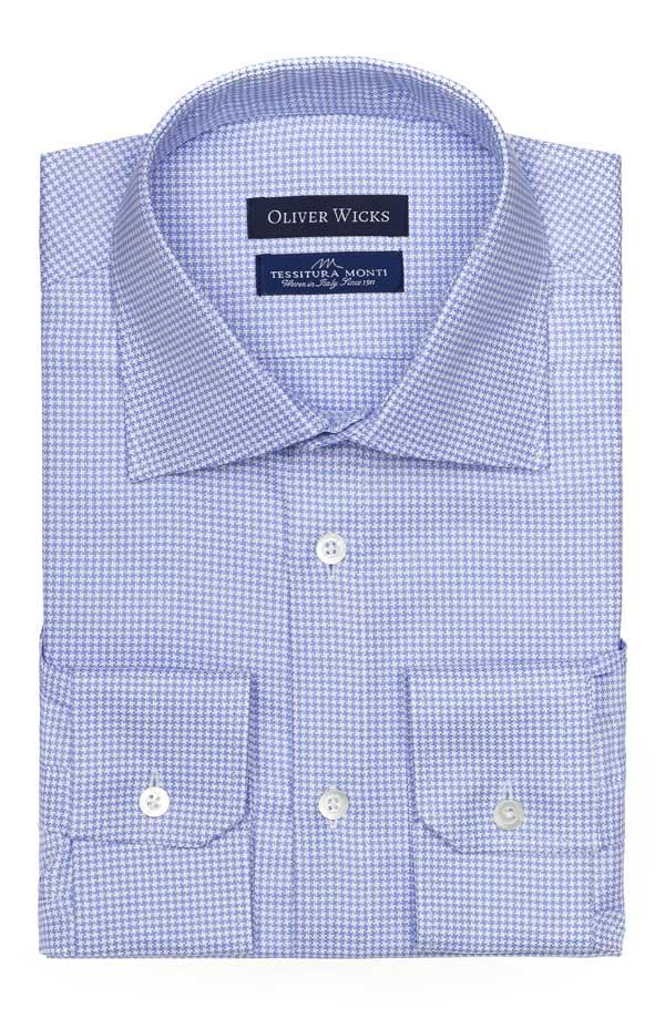 Blue Houndstooth Two-Ply Cotton Broadcloth Shirt