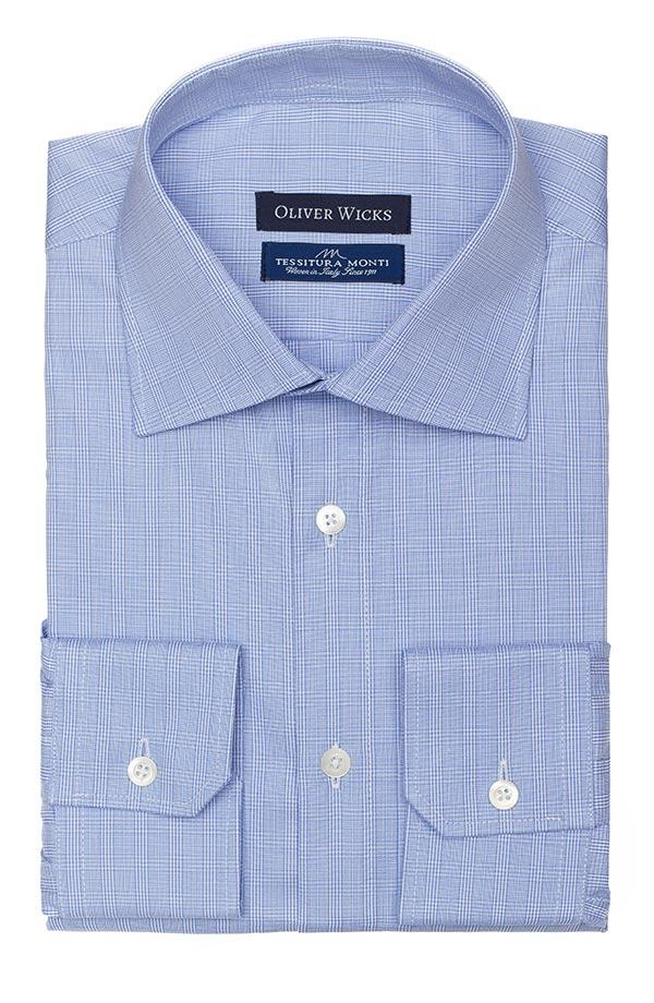 Checked Blue Two-Ply Cotton Shirt