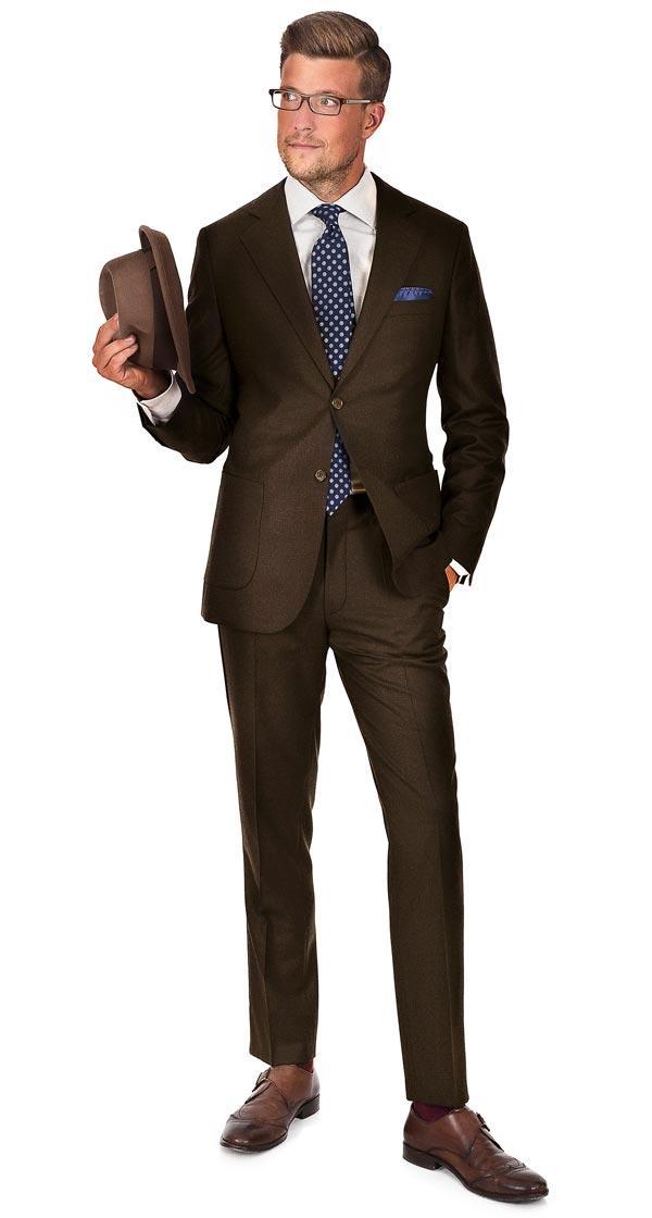 Brown Wool Flannel Suit