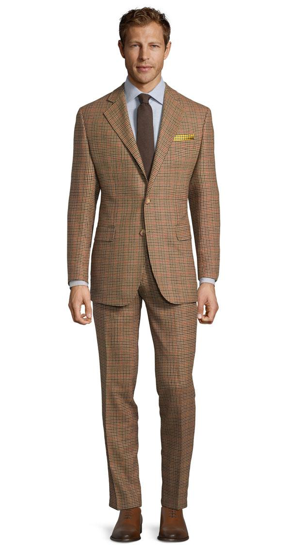 Light Brown Check Wool & Cashmere Suit
