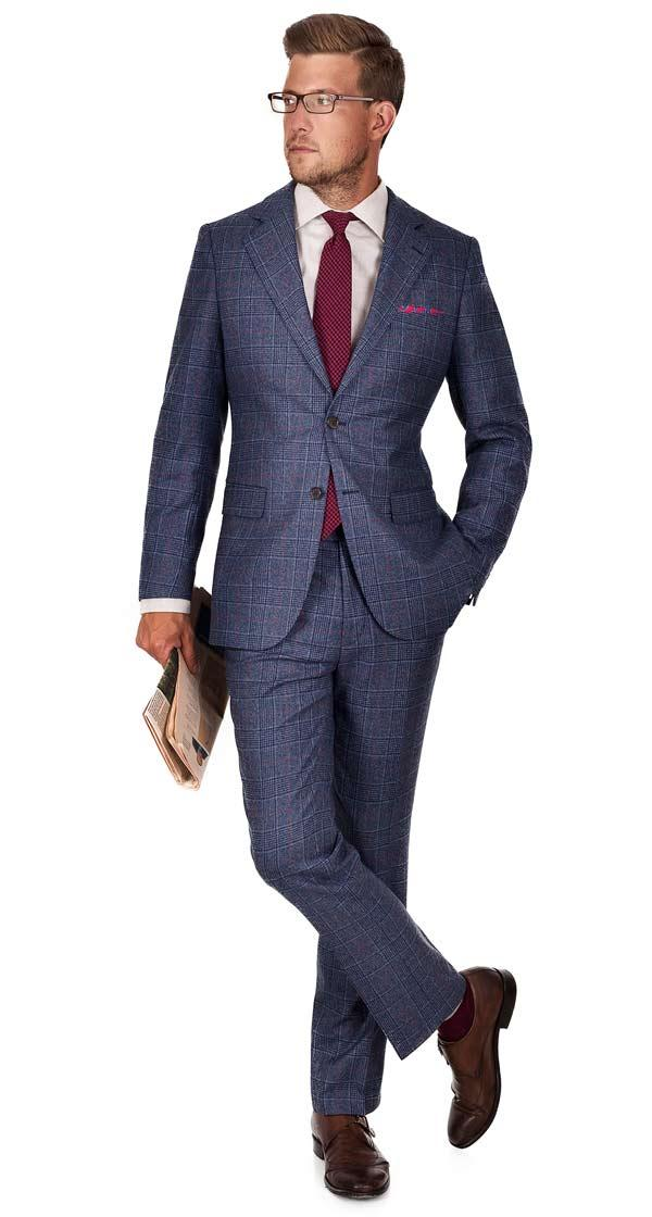Blue Plaid Wool & Cashmere Suit