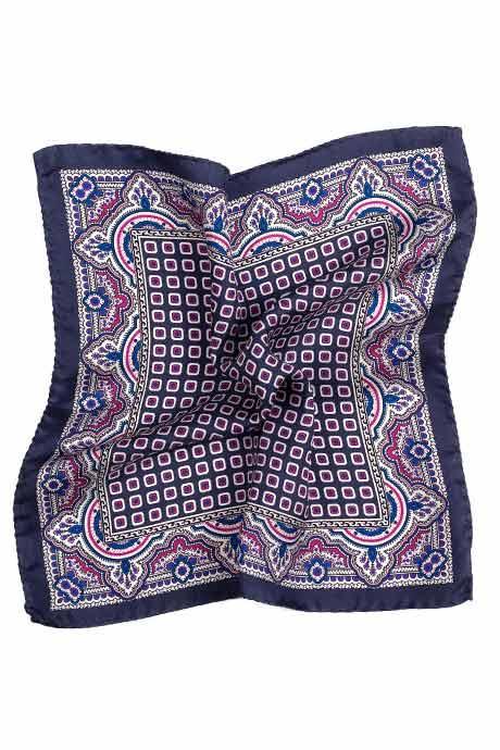 Blue & Purple Arabesque Pattern Italian 100% Silk Pocket Square