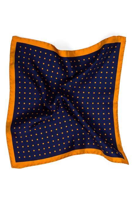 Navy & Mustard Dotted Italian 100% Silk Pocket Square