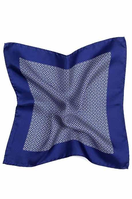 Blue Patterned Italian 100% Silk Pocket Square