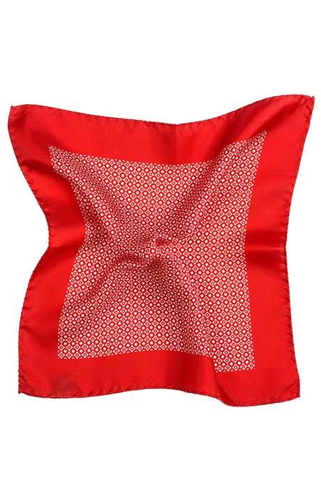 Bright Red Patterned Italian 100% Silk Pocket Square