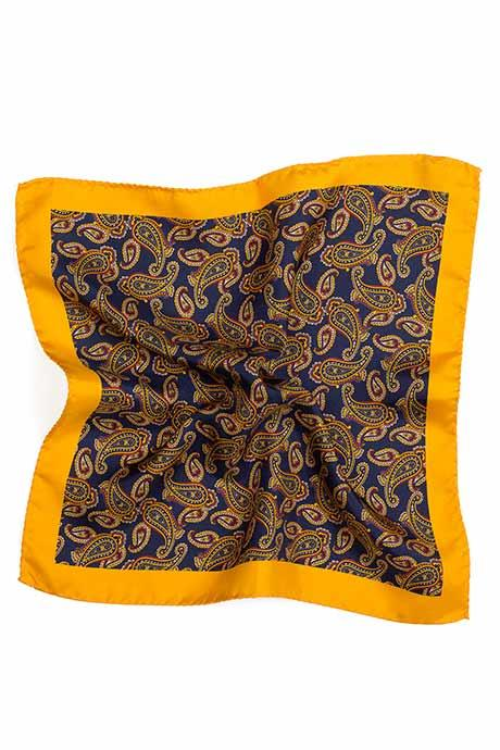 Mustard & Blue Paisley Italian 100% Silk Pocket Square