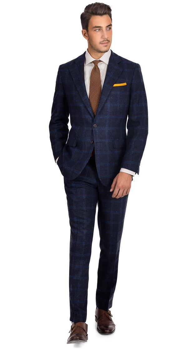 Blue Check Blue Shetland Tweed Suit