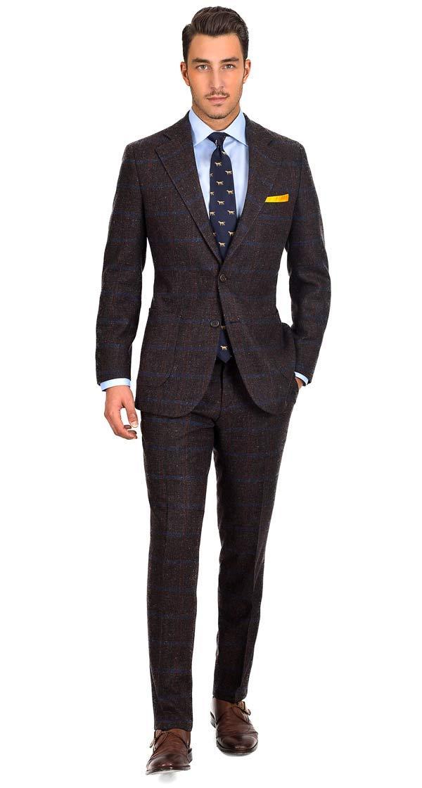 Blue Check Brown Shetland Tweed Suit